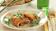 Фото рецепта Блинчики с мясом и сыром в хрустящей панировке