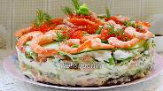 Фото рецепта Суши торт с креветками