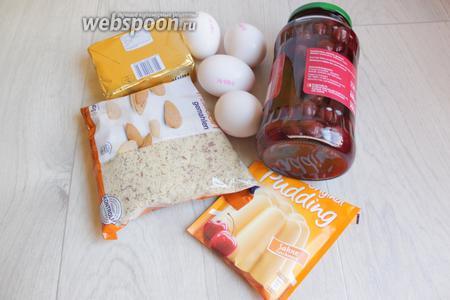 Вот такие продукты нам понадобятся: 2 банки консервированной вишни, сахар, мука, миндаль, молоко, пудинг, яйца.