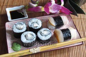 Роллы и нигири суши с масляной рыбой
