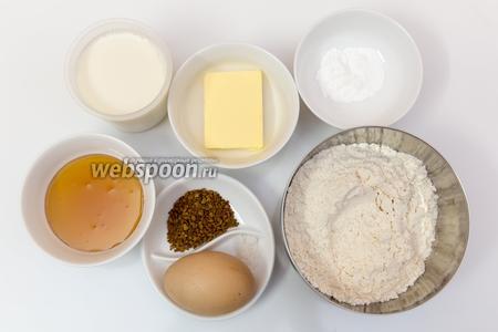 Для приготовления нам понадобятся: мука, соль, мёд, кофе растворимый, разрыхлитель, яйца, молоко, сливочное масло.