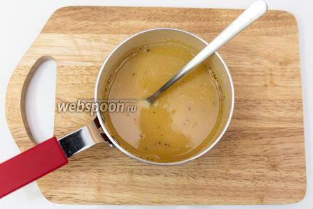 Сливочное масло кладём в молоко, ставим на газ или в микроволновку. Нам нужно, чтобы оно растворилось полностью. В смесь всыпаем кофе, хорошо перемешиваем. Отставим в сторону, чтобы чуть остыло.