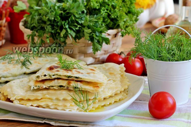Фото Кутабы с сыром и зеленью