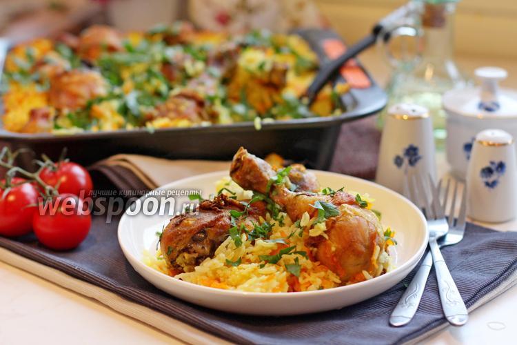 Фото Запечённые куриные голени с рисом