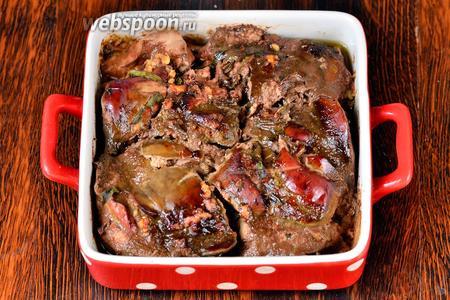 Запекаем печень с тархуном, томатом и хмели-сунели в течение 50-55 минут при 210°С. После блюдо готово, приятного аппетита!