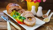 Фото рецепта Рулет из пузанины с курагой и  черносливом