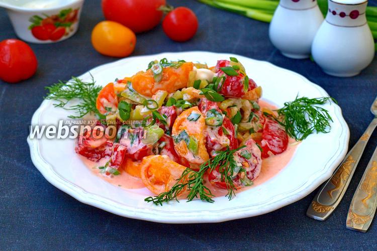 Фото Салат из помидоров и перца со сметаной