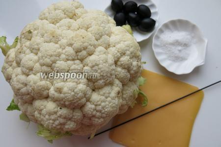 Цветная капуста, маслины без косточек, лапша, сыр, соль. Идеи по сборке фигурок из риса пригодятся и здесь, для соединения деталей используем лапшу, лучше чёрную.
