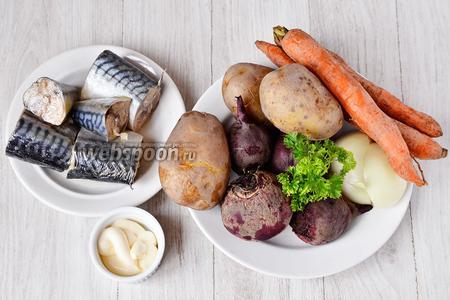 Для приготовления скумбрии под шубкой нам понадобился картофель, морковь, лук, свекла, петрушка, майонез, скумбрия в масле.