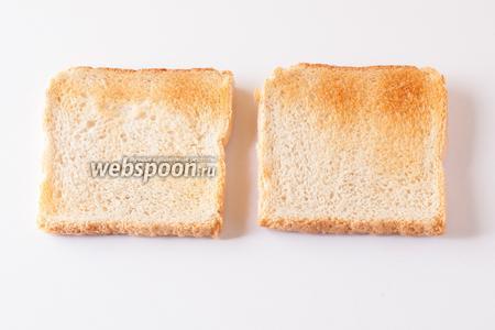 Хлеб для тостов жарим в тостере.