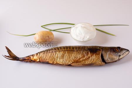Ингредиенты просты и доступны: картошка, сметана, зелёный лук, скумбрия горячего копчения, приправа — соль. Взрослым, вероятно, можно добавить и перчика. Одной рыбины должно хватить на 3-4 «недетские» порции такого салата.