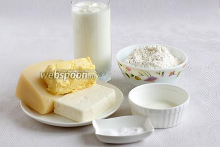 Обычно для хачапури используют рассольные сыры, за исключением особенных рецептов, как то хачапури по -тбилисски. Здесь у меня твёрдый сыр с нейтральным вкусом, брынза с кислинкой, мука, сметана, кефир, сахар, соль, сода и сливочное масло.
