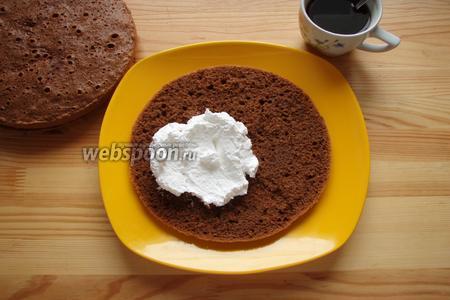 В кружке завариваем двойное кофе эспрессо, для пропитки.  Берём блюдо, выкладываем первую часть (самую нижнюю) бисквита, пропитываем кофе, обильно намазываем белым кремом, ровно половиной, далее выкладываем ещё одну часть бисквита, опять таки пропитанную кофе с двух сторон, и опять выкладываем остаток белого крема. Закрываем третьим пропитанным кофе коржом.