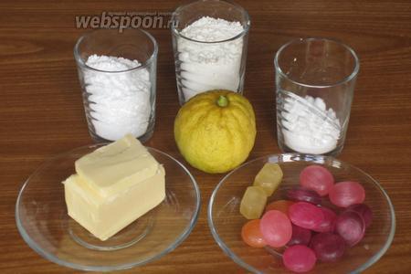 Для приготовления печенья нам понадобится мука, картофельный крахмал, сливочное масло, сахарная пудра, лимон и леденцы.