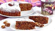 Фото рецепта Постная кофейная коврижка с вяленой вишней и орехами
