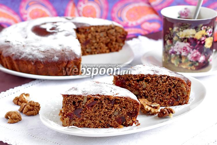 Фото Постная кофейная коврижка с вяленой вишней и орехами