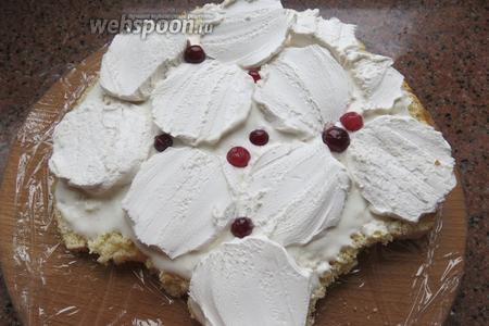 В тортах мне нравится ягодная кислинка, кладём насколько плодов ирги, как альтернатива: смородина, клюква, кислая вишня (половинки).