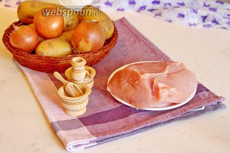 Для приготовления начинки нам потребуется свинина (мякоть), картофель сырой, лук и специи.