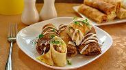 Фото рецепта Домашние блинчики с начинкой из свиного языка и яиц