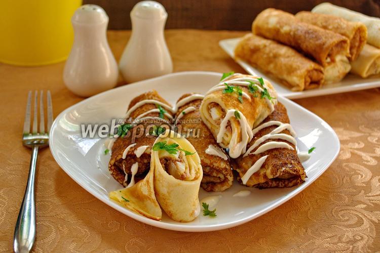 Фото Домашние блинчики с начинкой из свиного языка и яиц