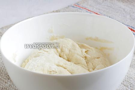 Из всех продуктов замесить тесто. Советую муку добавлять не всю сразу, а постепенно. Вымесить тесто на столе до абсолютной гладкости, постепенно подсыпая муку. Накрыть тарелкой и оставить в покое на некоторое время.