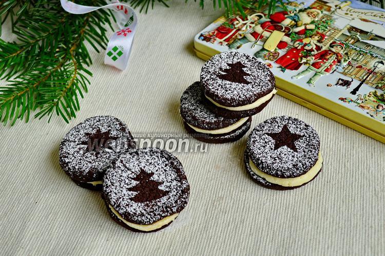 Фото Шоколадное печенье с миндальным кремом