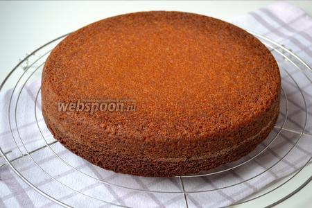 Готовый пирог достать их духовки и остудить, перевернув на решётку. Как только остынет, выложить пирог на сервировочное блюдо и наколоть по всей поверхности лучинкой.