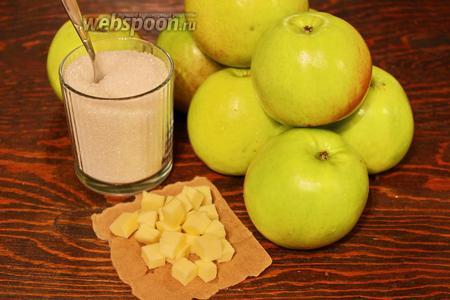 Для начинки, потребуются яблоки (которые не превратятся в кашу, после выпекания), сахар, масло, ваниль, силиконовая форма 25 см (если у вас, больше или меньше, пересчитайте ингредиенты!).