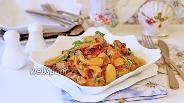 Фото рецепта Свинина с овощами тушёная в сливках