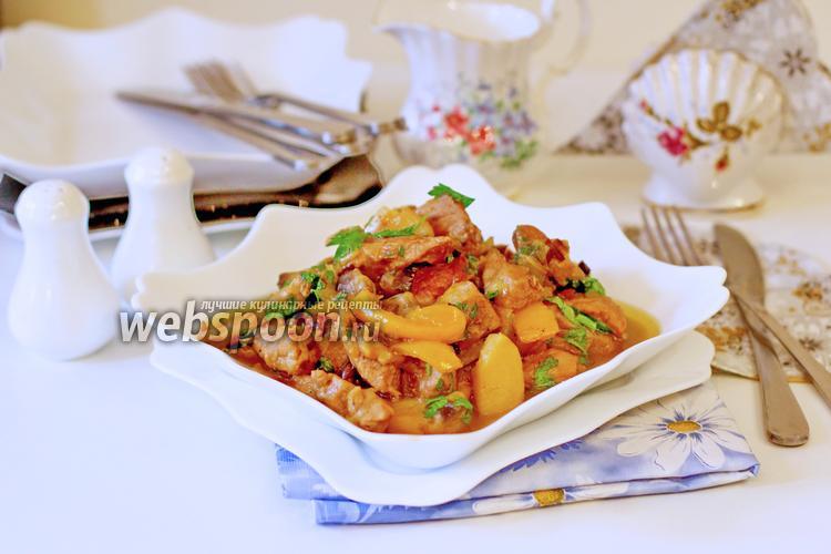 Фото Свинина с овощами тушёная в сливках
