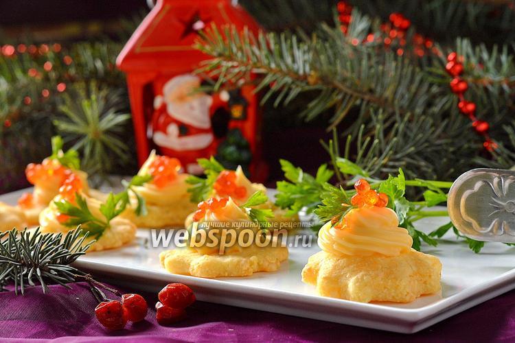 Фото Закуска с красной икрой и плавленым сыром