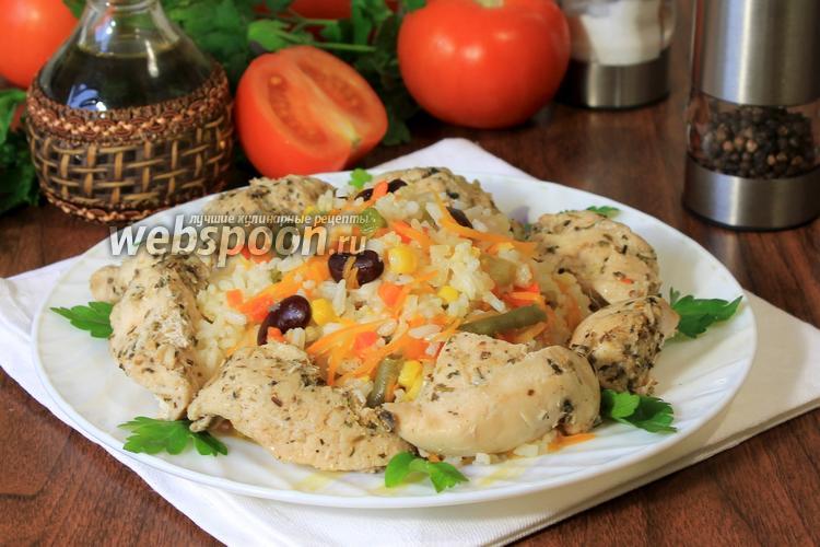 Фото Курица с рисом и мексиканской смесью в мультиварке