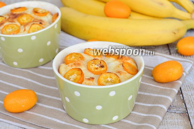 Фото Творожная запеканка с кумкватом, бананами и семолиной