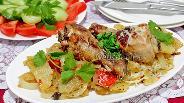 Фото рецепта Куриные голени в маринаде, запечённые с овощами