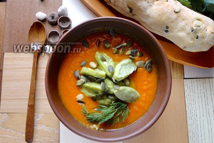 Фото Тыквенный суп-пюре с клёцками