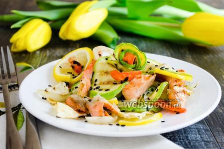 Форель с овощами на гриле