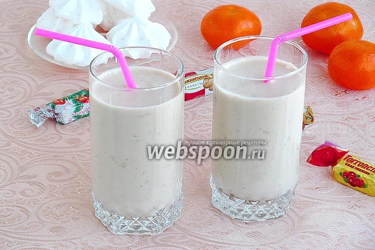 Фото Коктейль молочно-банановый с карамельным пудингом и мороженым