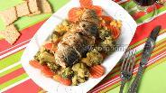 Фото рецепта Скумбрия с овощами на пару в мультиварке