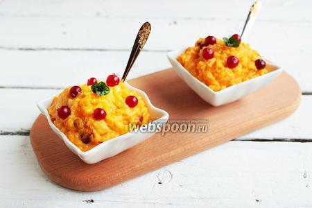 Тыквенно-рисовый пудинг с клюквой