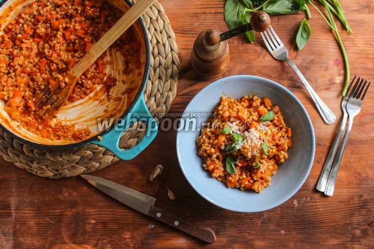 Фото Перловка с перцем и томатами