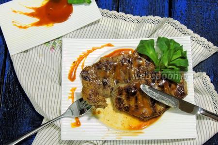Антрекот в карамельно-шафрановом соусе