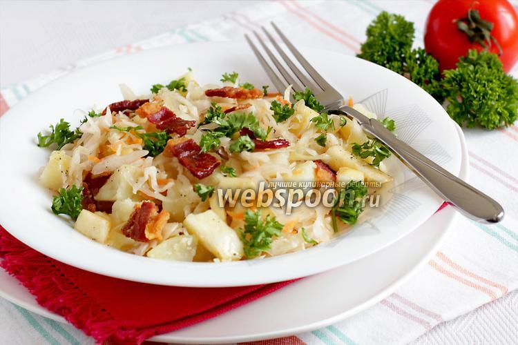 Фото Пикантный картофельный салат с беконом