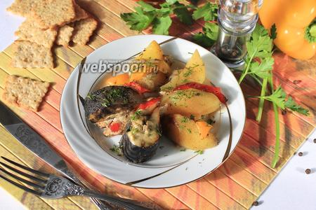 Скумбрия запечённая в духовке с картошкой