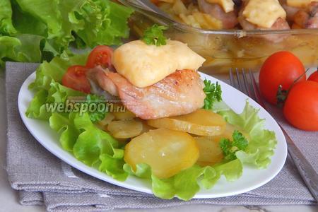 Картофель с курицей под сырной шапочкой