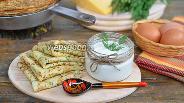 Фото рецепта Сырные блины с укропом