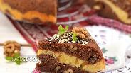 Фото рецепта Шоколадно-ванильный пирог с орехами в мультиварке