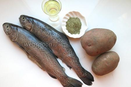 Для приготовления блюда подготовим форель свежую, картофель, приправу к рыбе, масло растительное (в не постном армянском варианте 150 грамм сливочного).