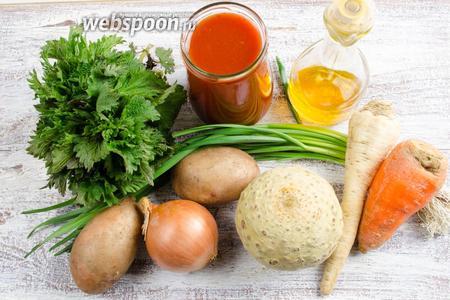 Для приготовления супа необходимо взять картофель, морковь, корень сельдерея, корень петрушки, лук, томатный сок, чеснок, соль, растительное масло, крапиву.