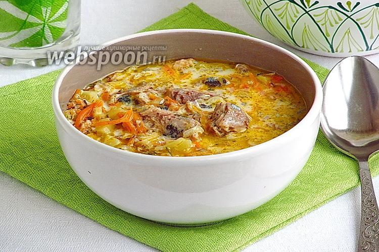 Фото Сырный суп с рыбными консервами