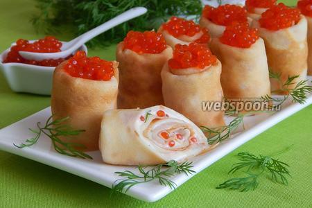 Блинчики с икрой и плавленым сыром